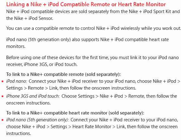 Nike plus+ ipod running sensor track kit run apple nano na0014-100.