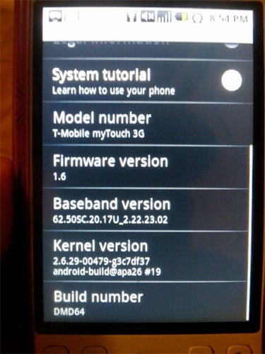 T-Mobile myTouch 3G granted ultra-minor firmware update, too