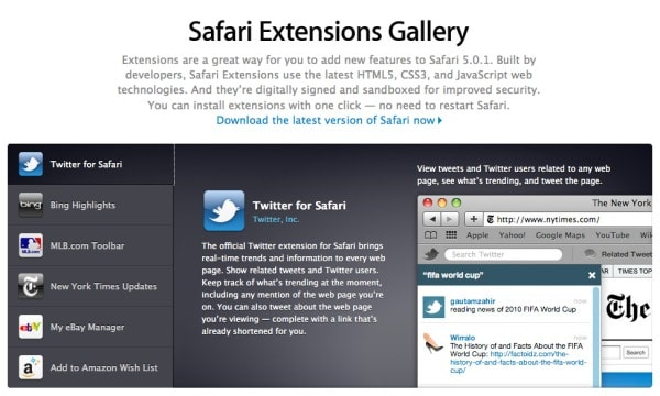 Apple releases Safari 5 0 1, Extensions Gallery now open