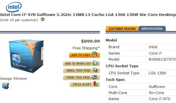 Intel's 3 2GHz hexacore i7-970 now shipping
