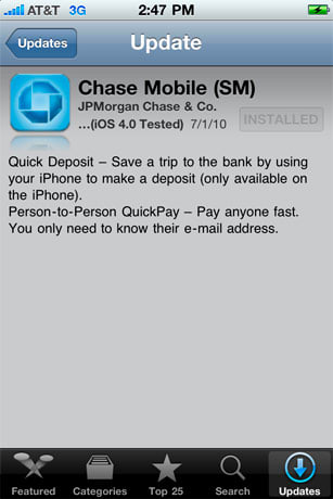 Chase Mobile iPhone app update: picture your paycheck