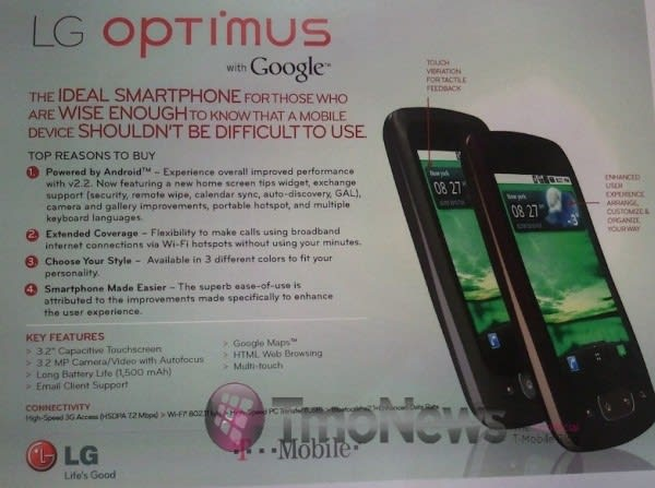 LG Optimus One headed to T-Mobile with 3G hotspot and WiFi