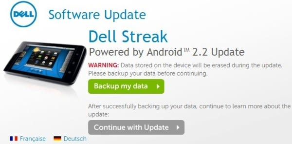 Dell Streak Android 2 2 update imminent in UK, other territories on