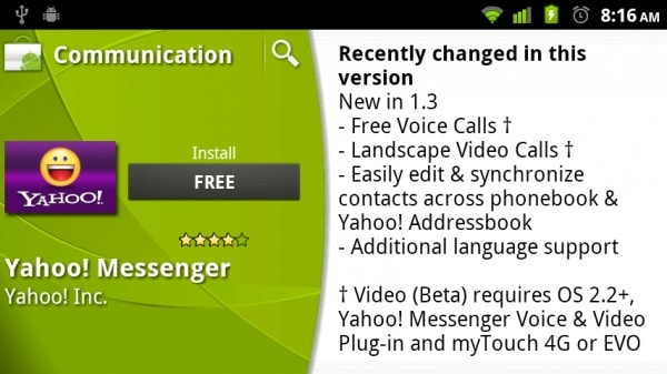 Yahoo! Messenger and ooVoo Mobile do video chat on Android