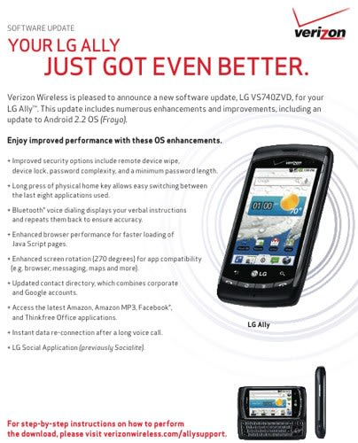 LG Ally for Verizon gets Android 2 2
