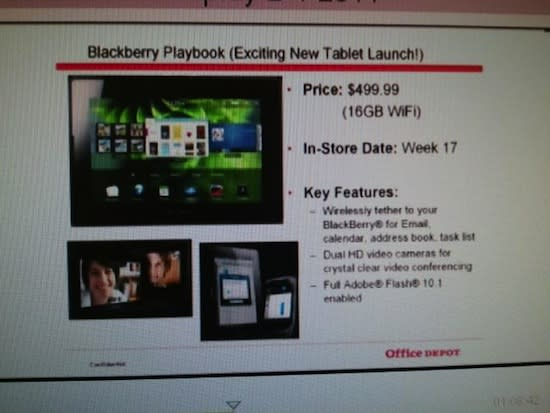 WiFi BlackBerry PlayBook priced at $500 in Office Depot's