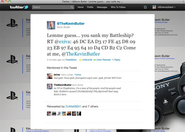 PS3 'jailbreak code' retweeted by Sony's Kevin Butler, no punchline