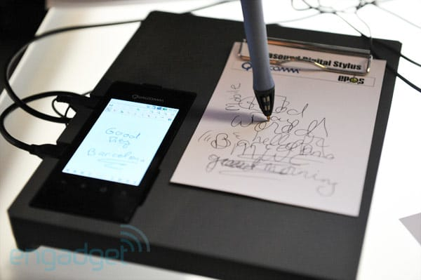 Qualcomm's ultrasonic pen demo transcribes from paper to