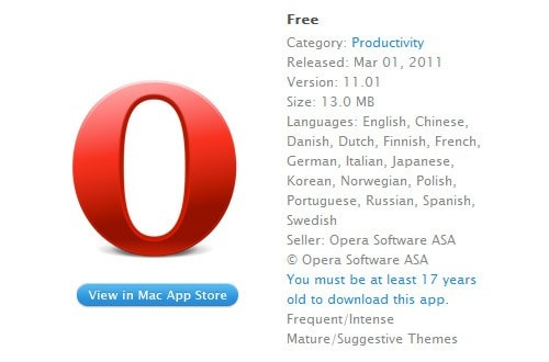 Opera browser gets an over-17 rating in Mac App Store