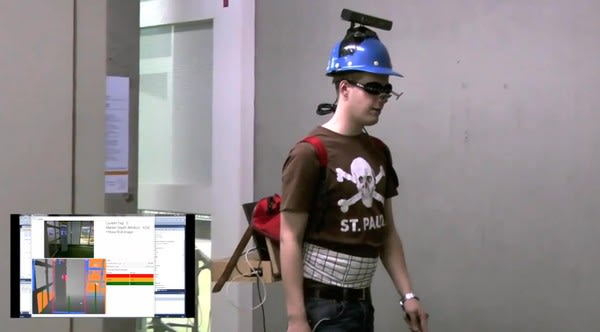 NAVI hack uses a Kinect to let the blind see, wear awesome headgear