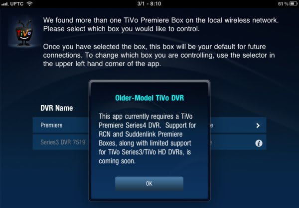 Older TiVo Series 3 / HD boxes will work with the iPad