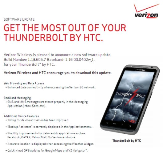 HTC Thunderbolt getting new radio firmware, according to