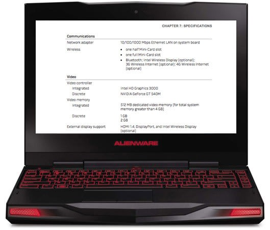 Manual for Alienware M11x with Sandy Bridge confirms NVIDIA GT540M