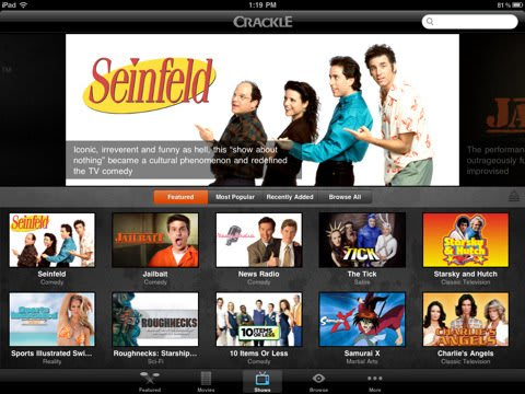 Crackle for iOS brings free movies and TV shows to iPads