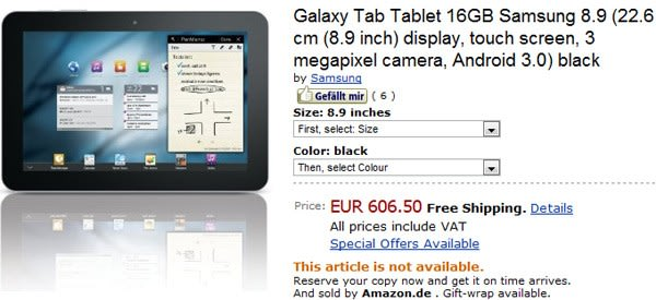 Samsung Galaxy Tab 8 9 priced at €606 by Amazon de, joined by 10 1