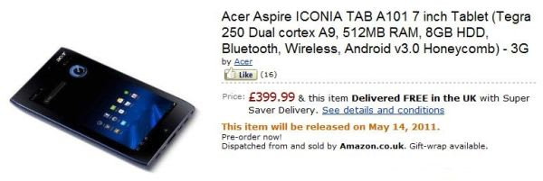 Acer's 3G-equipped Iconia Tab A100 up for pre-order on