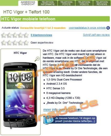 HTC Vigor with 1 5GHz dual-core CPU and Beats sighted in