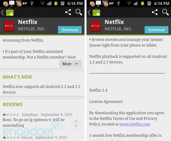 Now showing: Netflix 1 4 brings playback to 'all Android 2 2 and 2 3