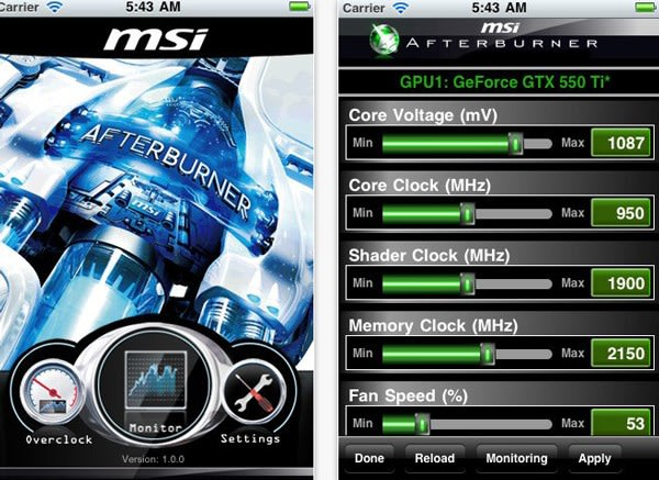 Overclock your MSI motherboard using your iPhone, iPad or Touch