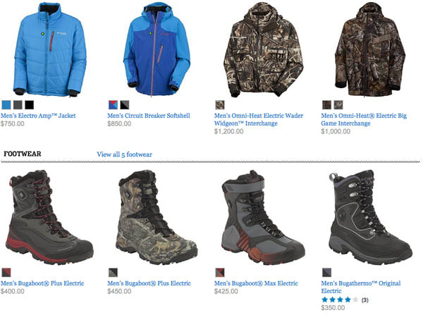3747c26e39b Columbia's line of electric Omni-Heat jackets, gloves and boots on ...