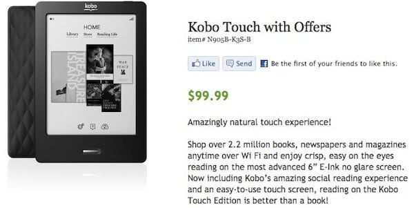 $100 Kobo Touch with Offers ships in '2-3 weeks,' serves you