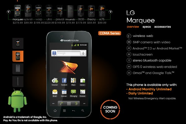 LG Marquee comes to Boost Mobile on January 23rd for $279