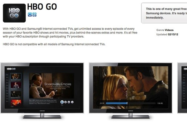 HBO Go rolls out to most Samsung Smart HDTVs -- but not through all