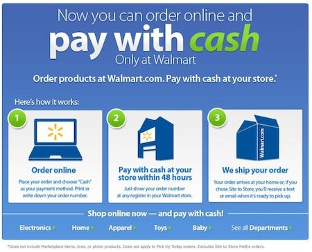 Walmart's website lets you Pay With Cash, strips away the