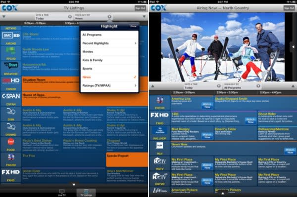 Cox TV Connect live TV streaming app for iPad updated with new grid