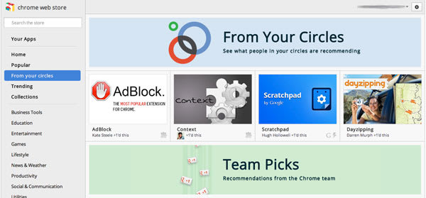 Chrome Web Store offers app recommendations from your Google+ mates