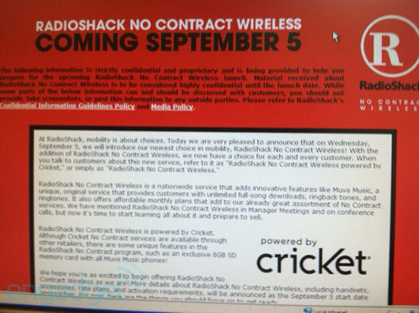 RadioShack No Contract Wireless may be getting ready to launch