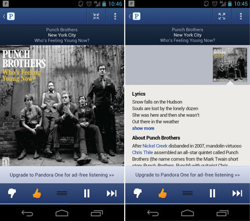 Pandora Android app update: new UI, song history and song