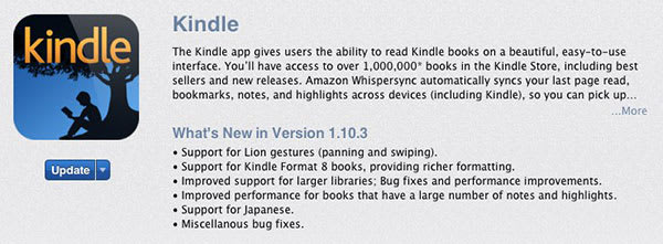Amazon Kindle Mac app update adds gesture features and