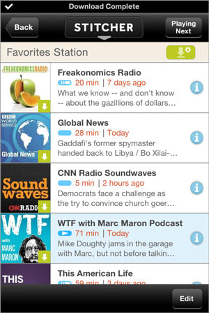 Stitcher updates its iOS app with offline mode for data-free