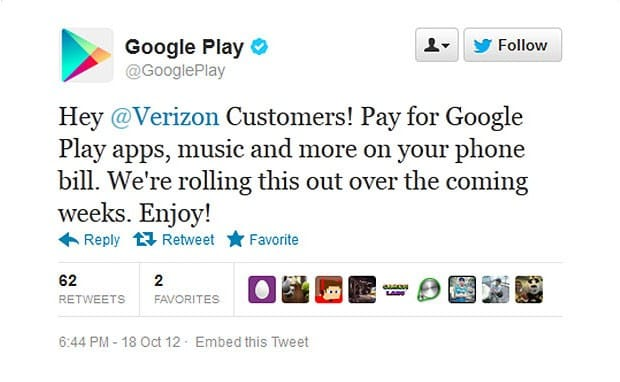 Google to Verizon Android users: carrier billing coming to