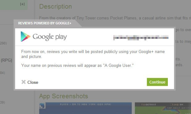 Google's Play Store website now links reviews to your