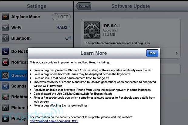 ios 6 0 1 released fixes iphone 5 ota software update issue and