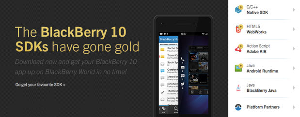 RIM releases 'gold' build of its BB 10 SDK toolkit