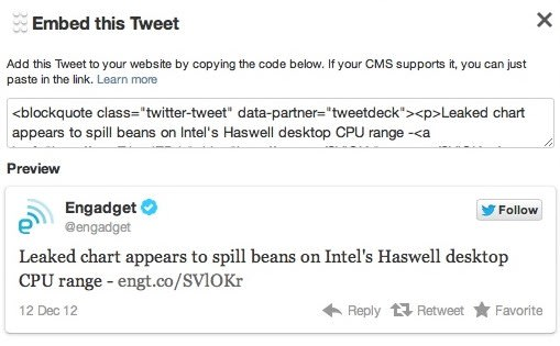 TweetDeck for the web and Chrome gains ability to embed tweets, not