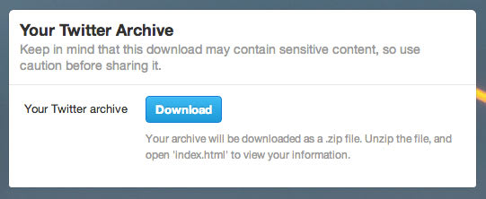 Twitter archive downloads start rolling out to select users