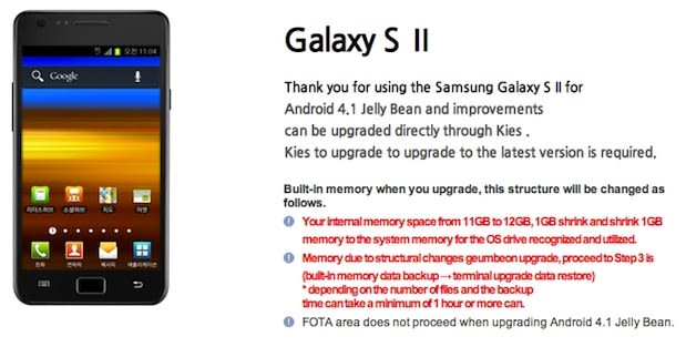 Samsung Korea posts Galaxy S II Jelly Bean update details, but not