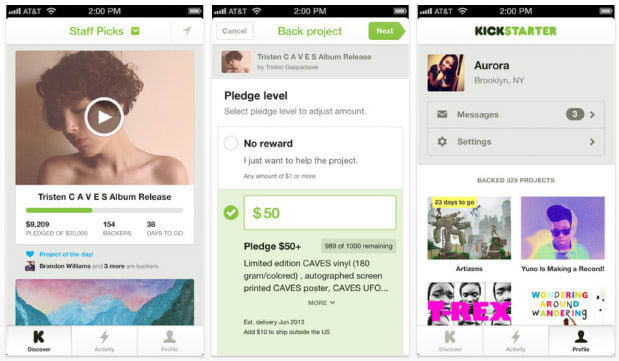 Kickstarter acknowledges that you shop from your phone with