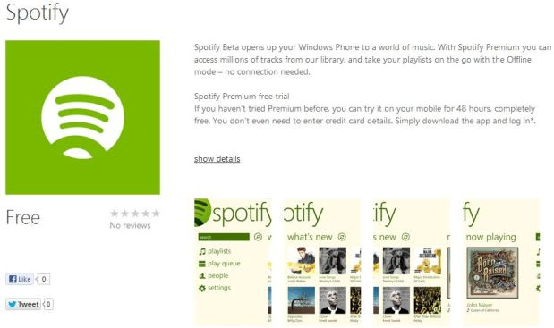 Spotify beta now available on Windows Phone 8