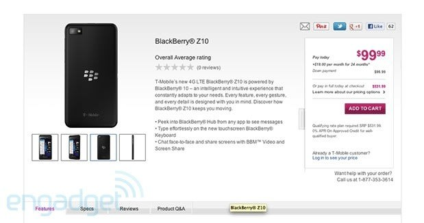 BlackBerry Z10 live on T-Mobile website: $100 down payment
