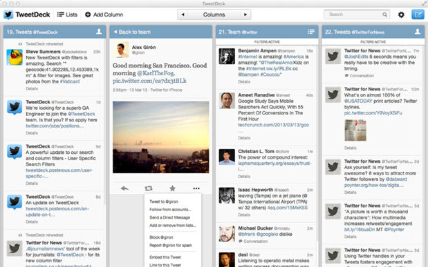 Tweetdeck update for Mac and Windows adds filters for columns and search