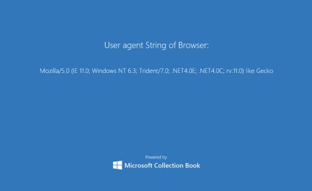 Internet Explorer 11 user agent makes browser look like