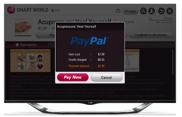 LG adds PayPal to its smart TV platform for faster app purchases