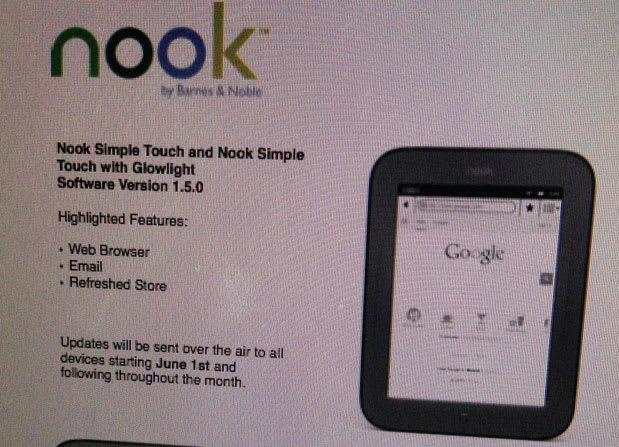 Nook Simple Touch Reportedly Getting Web Browser Email