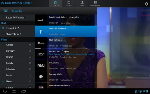 TWC TV Android update with live TV streaming away from home now