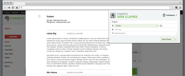 Evernote Web Clipper's new Gmail function saves copies of emails and